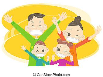 rodzina, maska, szczęśliwy