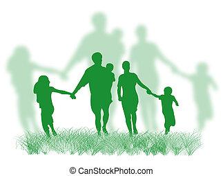 rodzina, na trawie