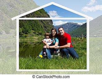 rodzina, natura, razem, czas, spends, szczęśliwy