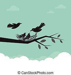 rodzina, od, ptaszki, że, czas teraźniejszy czasownika be, alimentacja niemowlę, illustration.
