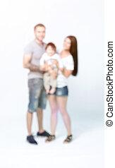 rodzina, odizolowany, młody, portret, biały, szczęśliwy