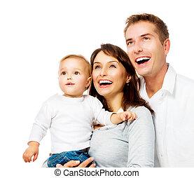 rodzina, odizolowany, portret, uśmiechanie się, biały, szczęśliwy