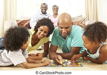 rodzina, oglądając, dziadkowie, gemowa deska, dom, interpretacja