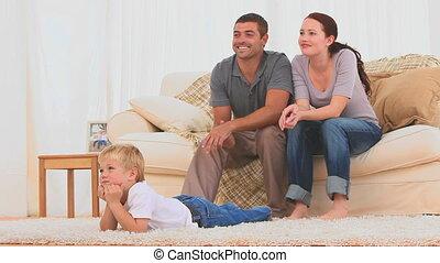 rodzina, oglądając, przedimek określony przed rzeczownikami, telewizja, razem