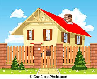 rodzina, płot, drewniany dom, za, gate.