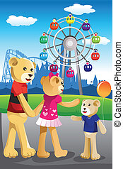 rodzina, park, niedźwiedź, zabawa, posiadanie, rozrywka