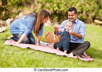 rodzina, park, prąd, mieszany, interpretacja, szczęśliwy