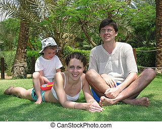 rodzina, posiedzenie, trawa