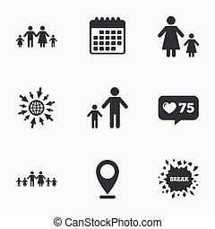 rodzina, poznaczcie., dwa, rodzice, dzieci, kids.