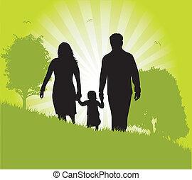 rodzina, praca, ilustracja, wektor, zielony