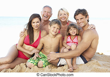 rodzina, produkcja, trzy, portret, święto, plaża