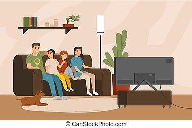 rodzina, razem., dom, uśmiechanie się, style., spędzając, set., posiedzenie, ojciec, comfy, dzieci, macierz, szczęśliwy, płaski, barwny, oglądając, ilustracja, rysunek, entertainment., telewizja, sofa, wektor, czas