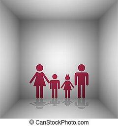 rodzina, room., poznaczcie., bordo, cień, ikona