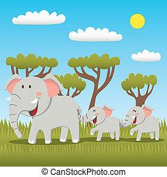 rodzina, słoń