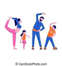 rodzina, sport, ilustracja