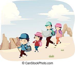 rodzina, stickman, pustynia, ilustracja, przygoda