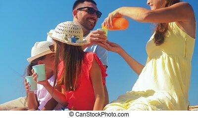rodzina, szczęśliwy, piknik, lato, posiadanie