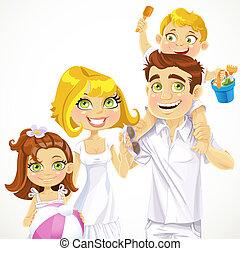 rodzina, tło, gotowy, biały, święto, plaża, dzieci