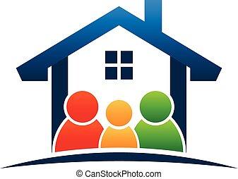 rodzina, w, dom, logo