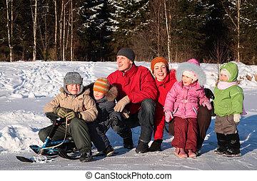 rodzina, w, drewno, w, zima