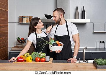 rodzina, warzywa, kuchnia, młody
