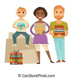 rodzina, z, dary, dla, housewarming partia, odizolowany, ilustracja