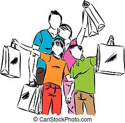 rodzina, z, shopping torby, wektor, ilustracja