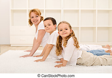 rodzina, zdrowy, sala gimnastyczna, wykonuje, zrobienie,...