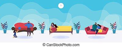 rodzinny pokój, pas, odpoczynek, pary, usługiwanie, albo