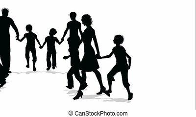 rodziny, dużo, sylwetka