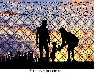 rodziny, sylwetka, uciekinier
