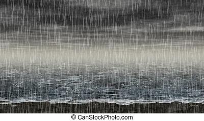 rodzony, morze, deszczowy, krajobraz, seaml
