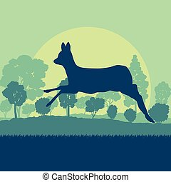 Roe deer in forest field with sunset and trees vector...