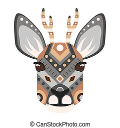 Roe Head Logo. Deer Vector decorative Emblem.