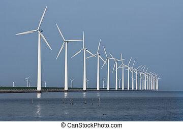 roeien, hollandse, zee, weerspiegelde, windmolen