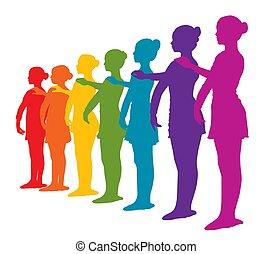 roeien, regenboog, zeven, gekleurde, ballerinas