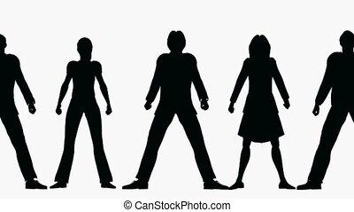 roeien, silhouette, mensen