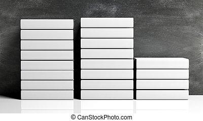 roeien, van, boek, opperen, met, leeg, hardcover, met, chalkboard, achtergrond.