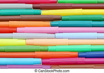 roeien, van, kleurrijke, pennen