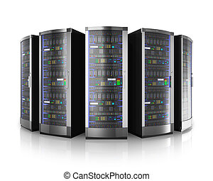 roeien, van, netwerk, servers, in, gegevensmidden