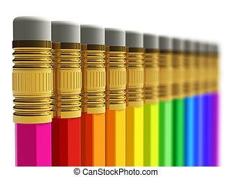 roeien, van, regenboog, potloden