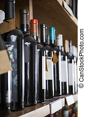 roeien, van, wijn bottelt, getoonde, op, plank