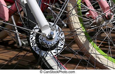 roeien, veelkleurig, fiets wielen, closeup