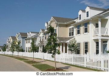 roeien, voorstedelijk, townhouses