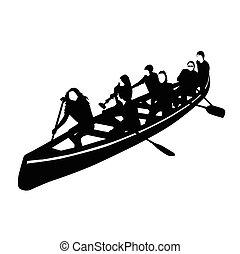 roeisport, jonge, menigte, kano