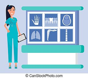 Analysis and diagnostics of x ray scanning vector, woman with clipboard smiling doctor. Doc with smile on face standing by table with images of bones