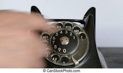 roepende, met, antieke telefoon