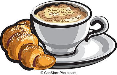 rogalik, cappuccino