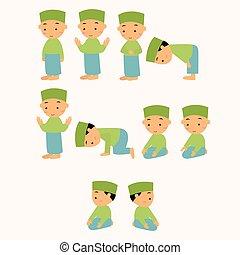 rogar, shalat, rezando, niños, islam, niño, movimiento, musulmán
