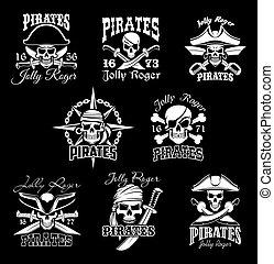 roger, とても, セット, 海賊, crossbone, アイコン, 頭骨